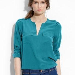 Joie silk blouse turquoise blue medium m
